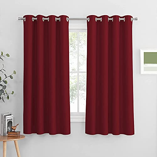PONY DANCE Blackout Window Drapes - Window Covering Thermal Room Darkening Curtain Double Panels Christmas Decorative Draperies for Home Decor, W 52 x L 63 Inch, Red, Set of 2