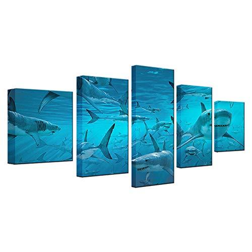 GTomorrow Blue Deep Sea Shark Swarm Cuadro En Lienzo 5 Piezas Impresion En Calidad Fotografica No Tejido Listo para Colgar 200X100Cm