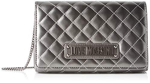 Love Moschino Borsa Quilted Nappa Pu, Tracolla Donna, Grigio (Fucile), 14x6x22 cm (W x H x L)