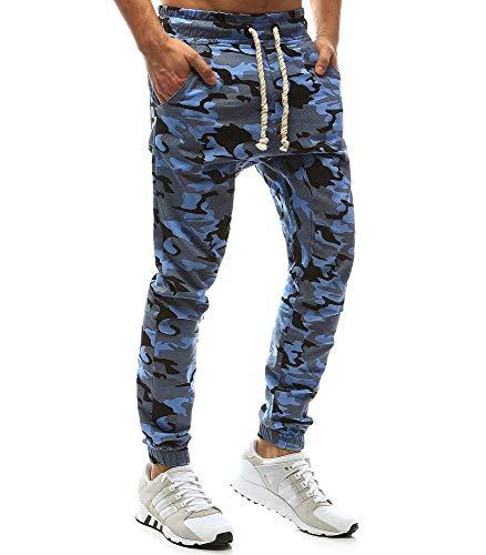 Cebbay Pantalons Militaires Homme Camouflage Pantalon Vintage Cravates Ceintures Élastiques Petits Pieds Pantalon De Sport Décontracté Automne Pantalon d'hiver Nouveau(Bleu,3XL)