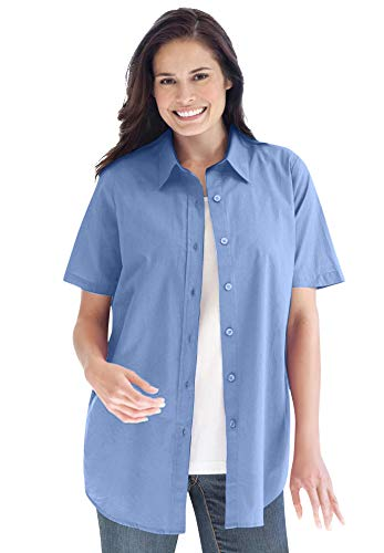 Woman Within Women's Plus Size Perfect Short Sleeve Button Down Shirt - 4X, French Blue
