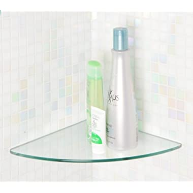 Floating Glass Shelves Bluegate Inc Bathroom Tempered Glass Curved Corner Shelf 10 x10  1/4 -Thick Wall Mounted