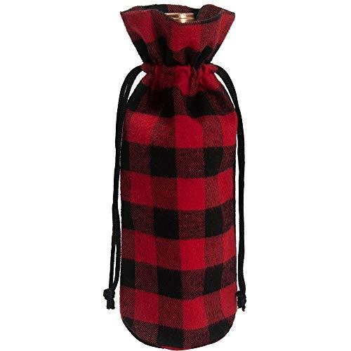 WWHSS -4pcs / Lot Nuevo Cuadro de Navidad Muebles for el hogar Vino champán Botella Bolsa Conjuntos de Botella Rejilla del Vestido de Negro y Rojo Papa Noel (Color : Red, Size : 9x9x32cm)