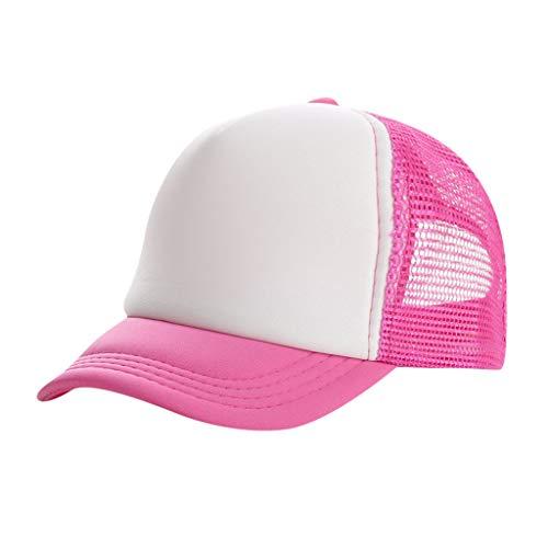 TUDUZ Baseball Cap Unisex Mesh Hut Kappe Classic Snapback 2-Tone Cap, Zweifarbige blanko Cap mit geradem Schirm, One Size Einheitsgröße für Damen und Herren(,Leuchtend Rosa)