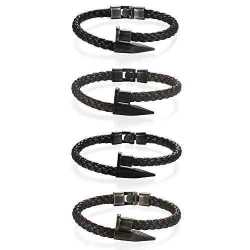 JewelryWe Schmuck 4pcs Herren Lederarmband, Edelstahl geflochtenes Leder Armband Nagel Spike Manschette Armreif, Schwarz Braun