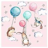 Little Deco Wandtattoo Babyzimmer Tiere & Luftballons I Wandbild 106 x 67 cm (BxH) I Hase Igel Sterne Kinderzimmer Aufkleber Baby Mädchenzimmer DL507