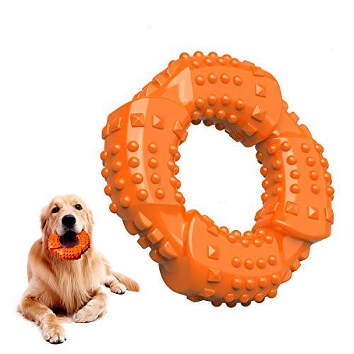 Feeko Juguete masticable para perros para masticadores agresivos, raza grande, caucho natural indestructible, no tóxico, juguete masticable para cachorros para perros medianos/grandes(naranja)