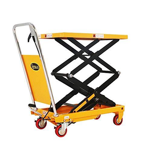 Manual Double Scissor Hydraulic Lift Table Cart - 770lbs   51.2' Lifting Height   Platform Size 35.8' x 19.7'