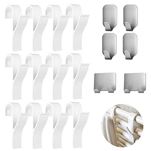 Nifogo 18er Set Haken für Rundheizkörper Bad Handtuchhalter Heizkörperhaken mit 6 Selbstklebend Edelstahl Wasserdicht Wand Haken