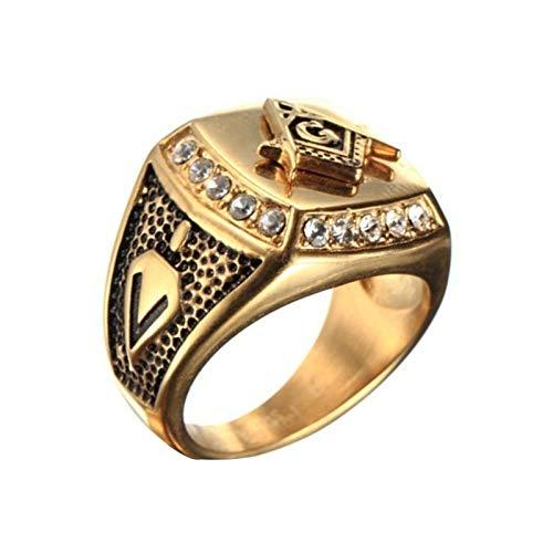 EzzySo Anillo de Masonería de Diamond, Logotipo de Oro Aleación Anillo Hombre Hip-Hop Fashion Marca Joyería (2 Piezas),11