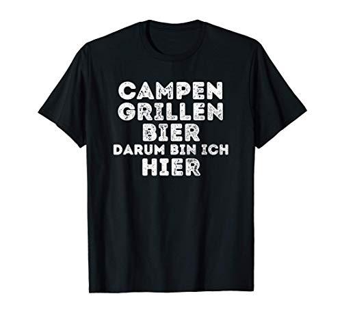 Campen Grillen Bier Camping Geschenke lustig Camper Sprüche T-Shirt