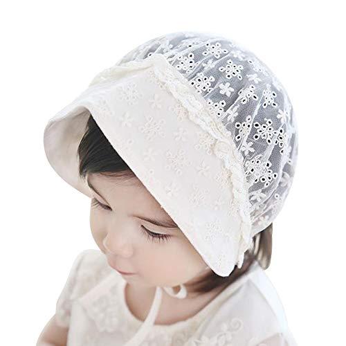 LACOFIA Berretto Principessa neonata Cappello da Battesimo a Maglia per Bambina con Cinturino sottogola Regolabile Rosa 0-12 Mesi