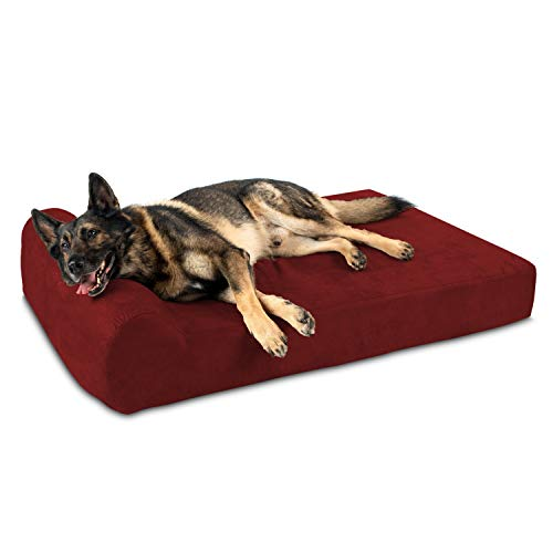 Big Barker 7' Pillow Top Orthopedic Dog Bed - XL Size - 52 X 36 X 7 - Burgundy - For Large and Extra Large Breed Dogs (Headrest Edition)