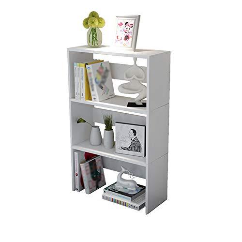 DNSJB 3 étagères de Bureau Petite étagère, bibliothèques d'étudiant de Bureau d'ordinateur de Bureau (Couleur : Blanc)