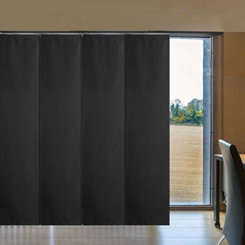 LETAU Sliding Panels Track Blinds, 100% Blackout Made to Order Vertical Blinds for Large Windows, Sliding Doors, Open Spaces and Room Dividers, Black