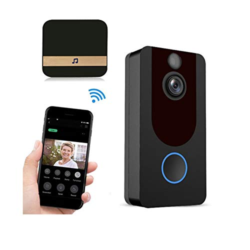 QGGESY WiFi Timbre Inalámbrico Exterior Impermeable con Camara,videoportero Inalambrico,Audio Comunicación Bidireccional,Autoinstalación Simple Gran Angular,para iOS y Android,Black