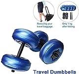 ZHENG Wasser Gewichte Hantel, Gewicht Set mit Wasser gefüllt, verstellbare Hanteln Sport reisen, mit einem Gewicht von 8 kg bis 10 kg, Fitnessausrüstung for Männer, Frauen Stangenverlängerung, tragbar
