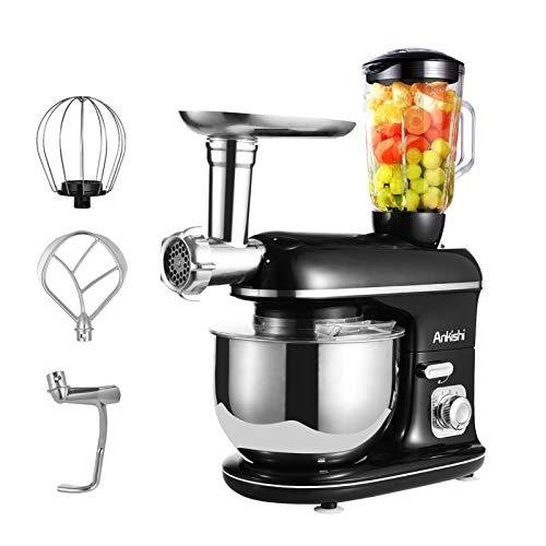 Ankishi Robot de cocina, poco ruido, amasadora con doble gancho para amasar,...