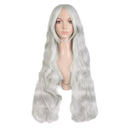 MapofBeauty 32' 80cm Silver White Long Hair Curly Wavy Wig Cosplay Costume Wig