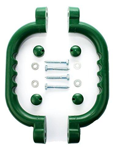 Hiks 2er-Set Haltegriffe/Handläufe, Grün, ideal für Klettergerüste, Baumhäuser und Spielhäuser (auch in Gelb oder Blau)