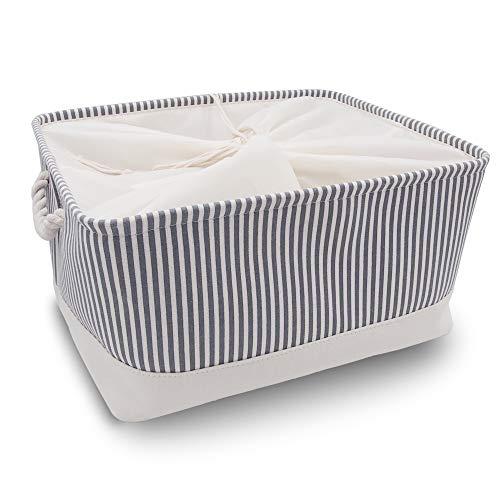 Mangata Zusammenklappbare, verdickte Aufbewahrungsbox aus Leinen mit Seilgriffen (Grau Streifen, XXLarge)
