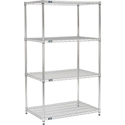 Nexel Adjustable Wire Shelving Unit, 4 Tier, Commercial Dry Storage Rack, 14