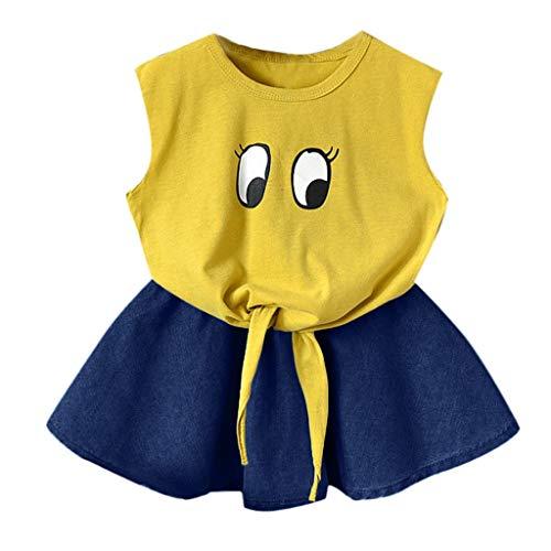 MRULIC Mädchen ärmelloses Kleid Cartoon Weste Tops + Denim Rock Set Outfit(Gelb,4-5 Jahre)