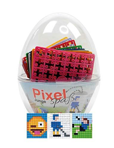 Pracht Creatives Hobby P90063-12501 Pixel Spaß Geschenkset im Ei, tolles Ostergeschenk für Jungen, mit 3 Motiven Fußballer, Eishockey und Smiley