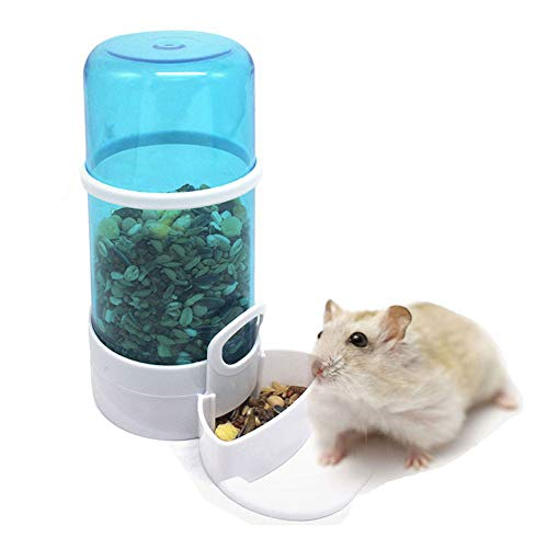 LA VIE Dispensador de Comida Automatico para Hámster Alimentador Automático para Mascotas Hámster Ratones Erizo Comedero Automático para Animales Pequeñas Small Pet Feeding Puede ser Colgado a la Jaula Azul