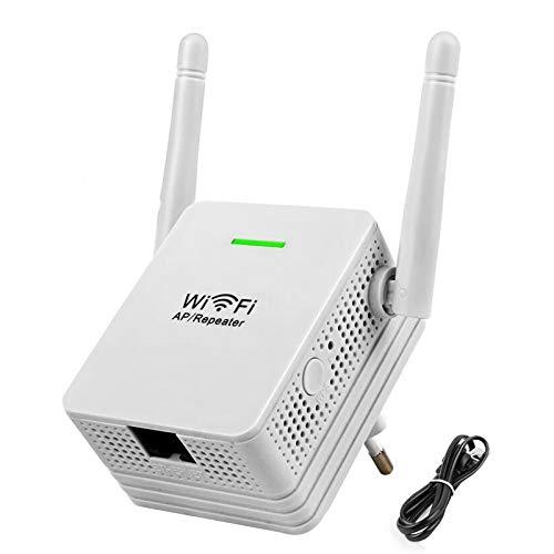 Laimiko Repetidor de WiFi Enrutador de Red de Refuerzo de SeeAl de Rango InaláMbrico-N de 300Mbps Amplificador de 2 Antenas Extensor de Red Enchufe de la EU