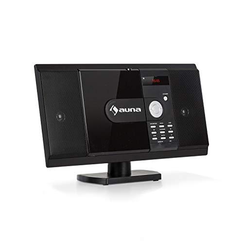 auna MCD-82 BT Vertikal-Stereoanlage - Micro-System im Slim Design, DVD-Laufwerk: DVD, DIVX, MPEG4, CD-R, CD-RW, MP3, Bluetooth, USB, SD, UKW, HDMI-Video-Ausgang, Fernbedienung, pianoschwarz
