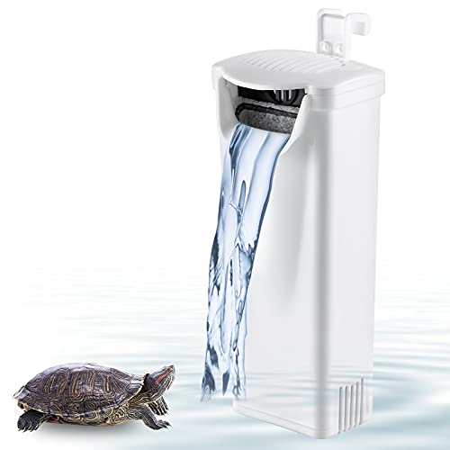 Geegoods Turtle Tank Filter ,1.2'' Low Water Level,3-Layer Filtration,Silent Fish Tank,Mini Aquarium Filter for Turtle/Fish and Other Reptiles