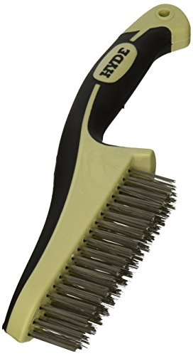 HYDE 46842 Stainless Steel Wire Brush with narrow profile, 11-inch, MAXXGRIP PRO