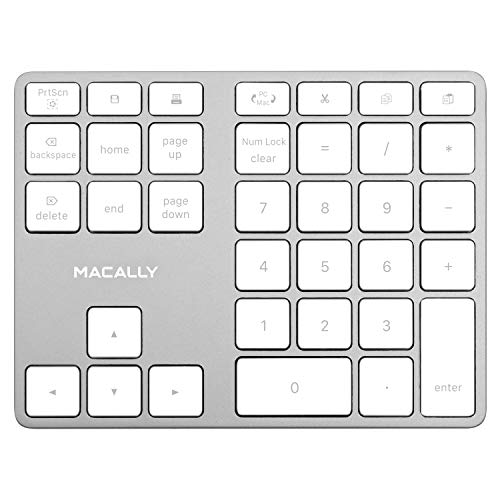 Macally Wireless Number Pad for Laptop - Rechargeable Bluetooth Keypad - Ultra Slim 35-Key Numeric Keypad for Entering Data Compatible with MacBook, iPad, iPhone, iOS, Laptop, Windows, Android
