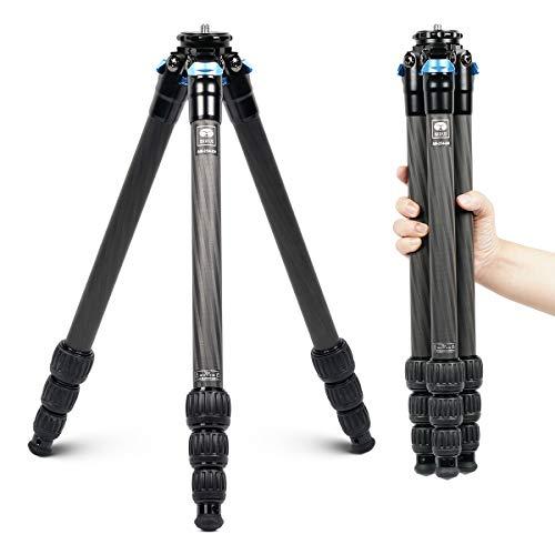 SIRUI Trípode de viaje AM-254 para fotografía profesional de fibra de carbono, trípode de 4 secciones de pierna, cierre de pierna con puntas desmontables de acero inoxidable, carga hasta 12 kg