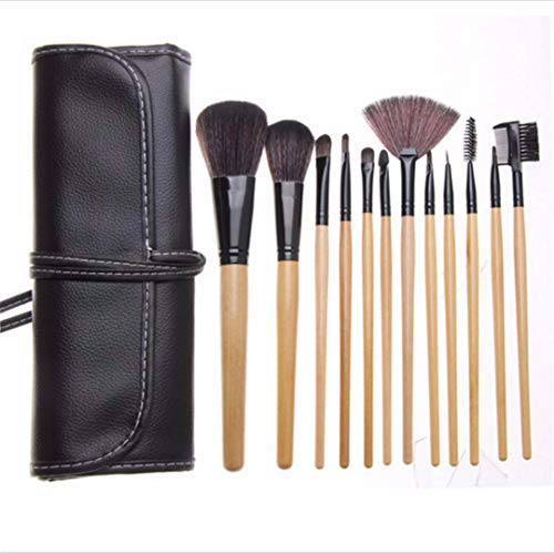 Pinceau de maquillage pour les yeux 12 pièces, avec peluche synthétique douce et manche en bois massif, adapté pour le fard à paupières, les sourcils et l'eye-liner-noir (avec sac)
