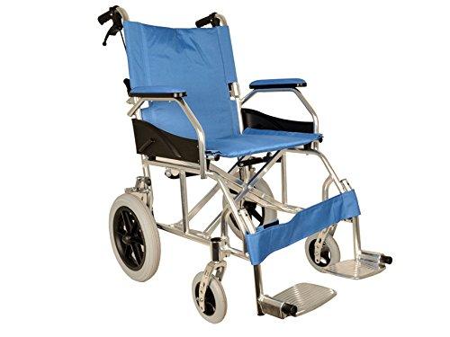 GIMA Aluminium Queen Rollstuhl hellblauer Sitz 46 cm, ultraleichter Rollstuhl nur 9,5...