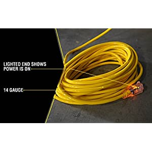 Yellow Jacket 2887 14/3 Heavy-Duty 15-Amp SJTW Contractor Extension Cord with Lighted Ends, 50-Feet