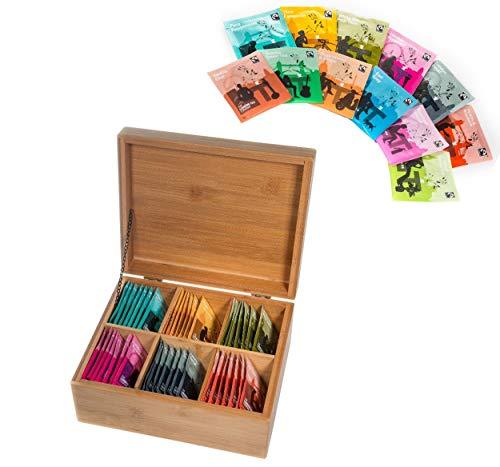 48er London Tee Set Nr. 3 / Geschenk-Set / 12 Geschmacksrichtungen je 4 Stück / Teebeutel PREMIUM-KOLLEKTION TEEBOX / Bambusbox / Vorratsbox auch für Teeblumen / Erblühtee in Bambus Natur by Feelino