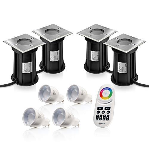 Auraglow Ampoule LED encastrable IP67 GU10 pour jardin, terrasse, chemin et télécommande RF avec changement de couleur, 4 PACK, GU12