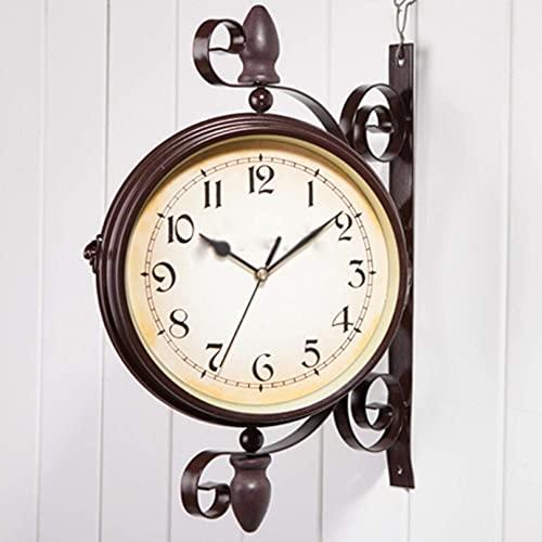 ZHJIUXING ST Reloj de Pared para jardín al Aire Libre, Reloj de Pared Vintage de Doble Cara, decoración Impermeable con rotación de 360 °, Red-Brown