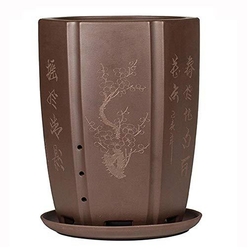 YLE Red Bonsai Pots with Drain Hole Handmade Flower Pot Ceramic for Plants-Plant Pots Indoor Ø 15.5 cm x H 26 cm