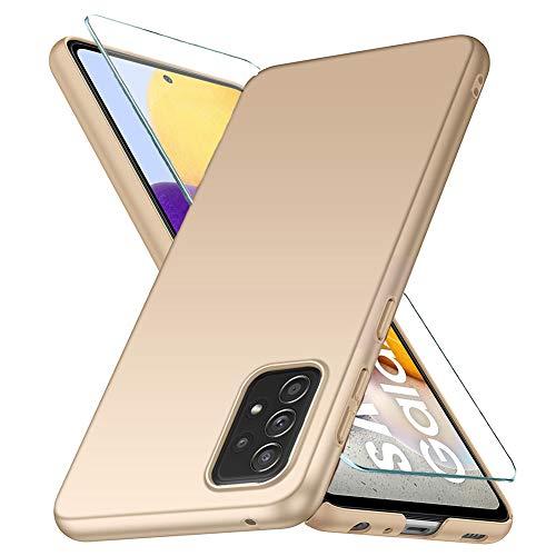 YIIWAY Kompatibel mit Samsung Galaxy A72 Hülle + Panzerglas Schutzfolie, Gold Sehr Dünn Hülle Handyhülle Harte Schutzhülle Hülle Kompatibel mit Galaxy A72 (6.7