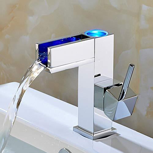 Dkee Todo El Cobre LED Control De Temperatura Del Lavabo Del Baño Grifo De Tres Colores Cuarto De Baño Lavabo Vanidad Grifo Caliente Y Fría