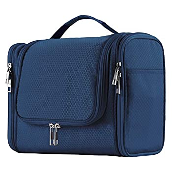 Extra Large Capacity Hanging Toiletry Bag for Men & Women Portable Waterproof Bathroom Shower Bag Lightweight Dopp kit Shaving Bag Sturdy Metal Hook Organizer Makeup Bag  Blue