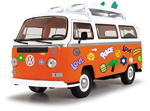 Dickie Toys Surfer Van, VW Bus mit Surfbrettern, Bully, Spielzeug Van, Türen zum Öffnen, Sticker zum Bekleben, 32 cm, ab 3 Jahren