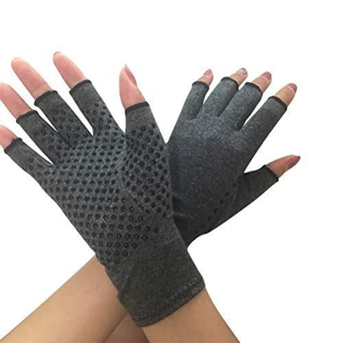 Healifty Arthritis Dloves Compression Gloves Fingerless Design Comfy Fit for Finger Joint, Relieve Pain, Carpal Tunnel and Tendonitis (Grey, Medium)