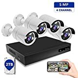 Home Security Camera System, 5MP 4CH Wired PoE Security Camera System with 2TB HDD, H.265+ NVR Security Camera System with Night Vision, Waterproof, Remote Access, Not PTZ