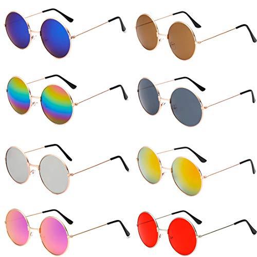 8 Paar Sonnenbrillen Vintage Polarisierte Gläser Metallrahmen Runde Brille Hippie Brille Outdoor Brille für Frauen und Männer