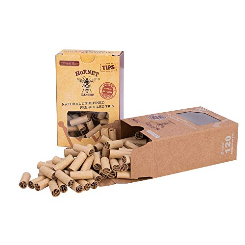 HORNET Cigarette Filter Tips for Rolling Papers Raw Rolling Tips,2 Pack = 240 Tips with Metal Box (Brown&Brown,Ø7mm)